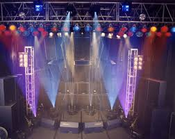 small lighting. A Small Stage With Blue, White And Purple Vertical Spot Lights Lighting