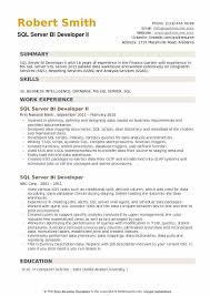 Sql Server Developer Resumes Sql Server Bi Developer Resume Samples Qwikresume