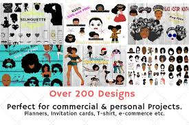 Black woman with afro silhouette. Afro Bundle 200 Afro Designs And More Afro Svg Png 149798 Illustrations Design Bundles