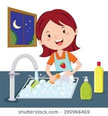 boy washing dishes clipart. Modren Clipart Woman Washing Dishes Vector Of A Woman Dishes At Night Inside Boy Washing Dishes Clipart I