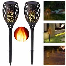 lighting tiki torches. 2 Pack-Solar Tiki Torch Lights LED Garden Waterproof Outdoor Courtyard Lamp Dancing Flame Flickering Lighting Torches 9