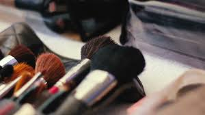 closeup of professional cosmetics makeup brushes kit in motion stock video fooe storyblocks video