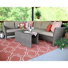 Canton 6 Piece Wicker Outdoor Sectional Set with Red Cushions
