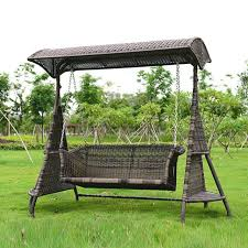 2 person wicker garden swing chair outdoor hammock patio leisure cover seat bench with cushion