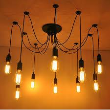 10 arms industrial ceiling spider lamp retro e27 edison bulb hanging chandelier lights diy adjule modern chic pendant lighting light bulb is not