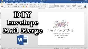 How To Design Invitations In Word How To Easy Envelope Mail Merge In Ms Word Diy Invitations