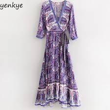 Boho <b>Summer</b> Dress 2018 <b>Women Vintage Ethnic</b> Printed Wrap ...