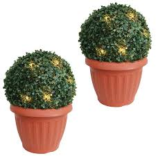 Artificial Foliage U0026 Topiaries  Outdoor Decor  The Home DepotArtificial Topiary Trees With Solar Lights
