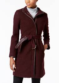 petite faux leather trimmed belted boucle wool coat