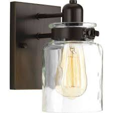 Interior sconce lighting Black Finish Bathroom 1light Antique Bronze Bath Sconce With Clear Glass Shade World Market Sconces Lighting The Home Depot