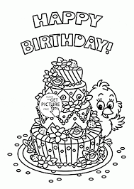 Small Picture Cute Birthday Card with Big Cake coloring page for kids holiday