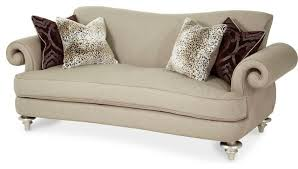 Aico Michael Amini Hollywood Swank Open Curl Arm Sofa Taupe