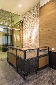 custom l shaped reception desk metal wood desk reclaimed beetle kill wood top