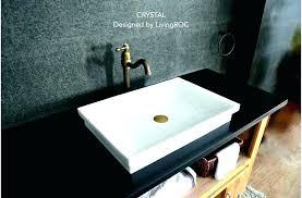 drop in sink bathroom sinks pure crystal white marble vessel archer rectangular with kohler drop in