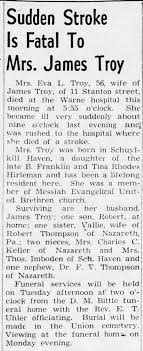 Eva L (Hirleman) Troy, 56, d. at Warne Hosp today of stroke. -  Newspapers.com
