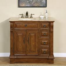 com silkroad exclusive hyp 0904 t uic 38 l off center single left sink bathroom vanity with furniture cabinet 38 medium wood home kitchen