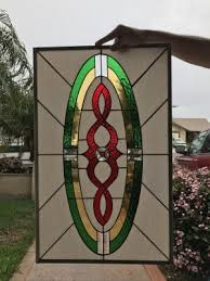 the sunnyvale stained glass window panel or cabinet insert 18 x 24 in