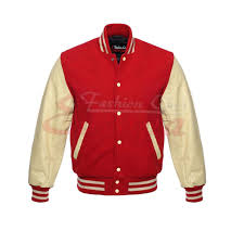 men s real leather wool varsity letterman jacket red w cream leather sleeves