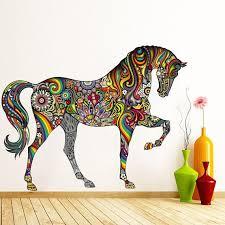 colorful tribal horse tribal wall art