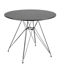 avery mid century modern round dining table in black and walnut
