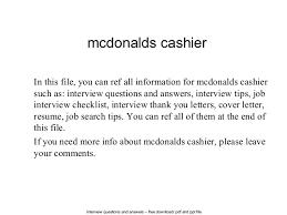 Mcdonalds Cashier Resume Mcdonalds Cashier