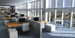 natural light office. an open office space with a wall of windows promises comfort natural light