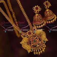 nl12037 latest peacock design pendant ghajiri short chain jhumka earrings matte gold imitation jewellery