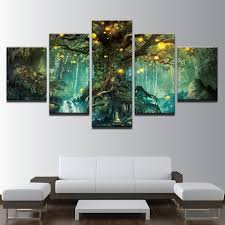 enchanted tree scenery printed canvas art 5 piece canvas wall art on 5 piece canvas wall art trees with enchanted tree scenery printed canvas art 5 piece canvas wall art