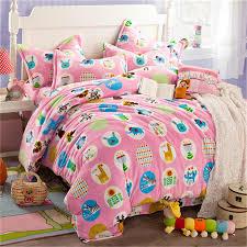 winter keep warm flannel comforter pink bedding set cute lovely animal bed sheet duvet cover pillowcase girl kid bedclothes quilt sets best duvet