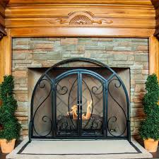 Fireplace Screens With Doors Black