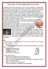 king arthur and the knights of the round table esl worksheet by modelena