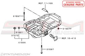 stm oem mitsubishi evo x engine oil pan 2008 2015 evolution x genuine oem mitsubishi engine oil pan fits all the 2008 2015 evolution x models factory mounting bolts are available in the purchase menu