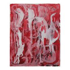 Berry Bowen Abstract Red and White Painting on Canvas 1985   Chairish