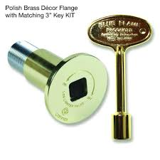 blue flame gas valve and key kit in polished brass