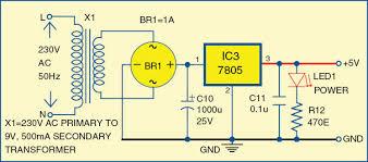 digital temperature controller full circuit diagram explanation 3 circuit diagram of the 5v power supply