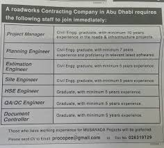latest jobs and vacancies hse engineer quality assurance quality control engineer document controller jobs available in abu dhabi