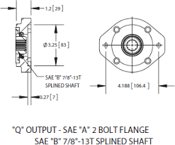 fa6b series power take off q output sae a 2 bolt flange sae b 7 8 13t splined shaft ·
