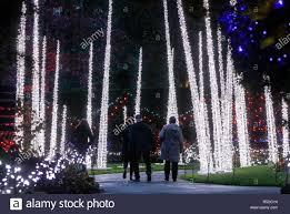 Botanical Gardens Christmas Lights 2018 Vancouver Canada 30th Nov 2018 People Enjoy Themselves