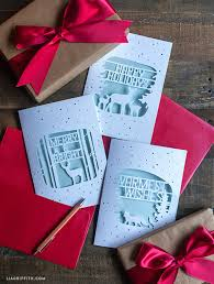 Christmas gift box hand painted red green festive atmosphere can be commercial. Elegant Paper Cut Christmas Cards Lia Griffith