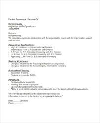 Accounting Resumes Best Resume For Freshers Accountant