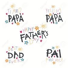 Set Of Hand Written Fathers Day Lettering Quotes With Childish