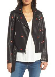 bcbgeneration heart embroidered faux leather moto jacket
