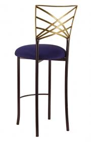 two tone gold fanfare barstool with navy blue stretch knit cushion 1 navy blue bar stools o28
