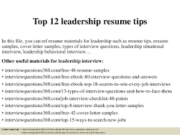Leadership Resume Examples Simple Top 60 Leadership Resume Tips