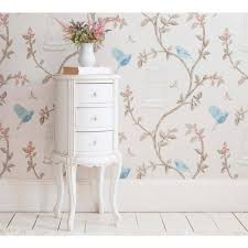 provencal round white bedside table to zoom