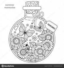 大人のためのぬりえベクトルの大人のための塗り絵夏の思い出にガラス