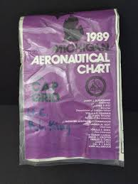 Vtg Map 1989 Michigan Aeronautical Chart With Cap Grid Upper
