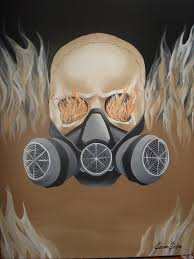 skull with paint respirator by jaimzl