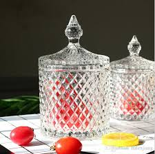 high quality hot nice design crystal clear glass sugar bowl candy jar with lid cover candy sugar bowl dinnerware sets acrylic dinnerware from