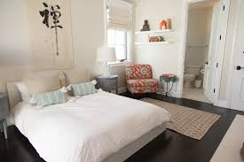 eclectic bedroom furniture. Eclectic Bedroom With White Walls And Japanese Text Wall Design Together Dark Hardwood Flooring Built-in Shelving. Furniture U